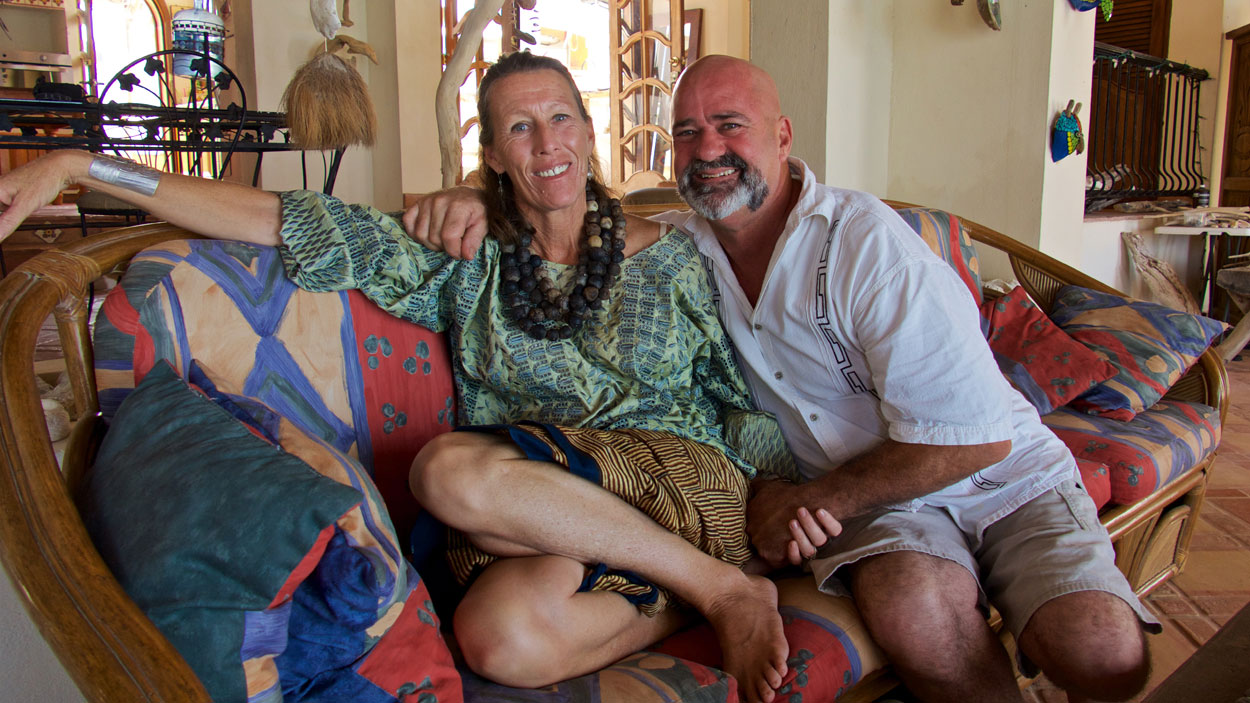 Jane relaxing at home with her husband, Chris.
