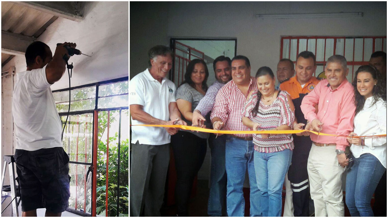 LEFT: Volunteers handle all sorts of remodeling tasks. RIGHT: Puerto Vallarta Mayor, Arturo Dávalos, in the ribbon-cutting ceremony for the Casita, March 23, 2016. • Photos courtesy of ANA.