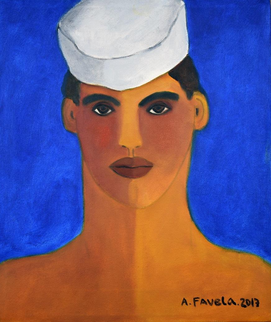 "MARINERO, oil on canvas, 17.5"" x 14.5"", Price: 2,500.- US dollars"