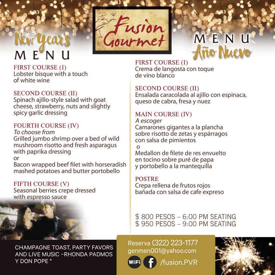 Fusion Gourmet Menu NYE 2018