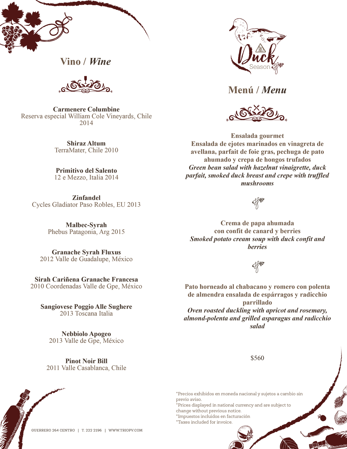 Trio Duck Season Menu 1