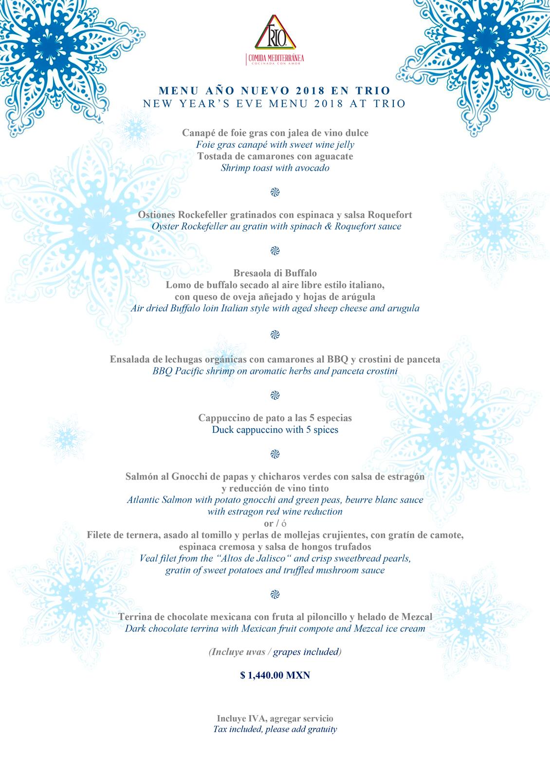 Restaurante Trio New Years Menu 2018